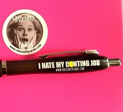Funny Sweary Novelty Profanity Pens - Obscenity pens. I Hate my c*unting Job