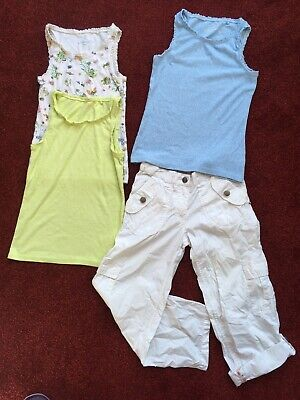 Girls Vests From Next, white Cargo Trousers 8yrs. Indigo. Great Con, No Marks.