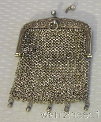 """antique French miniature MESH PURSE 3"""" coin doll silver chainmail chatelaine"""