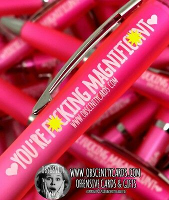 Funny Sweary Novelty Profanity Pens. Obscenity Cards. YOU'RE F*CKING MAGNIFIC*NT
