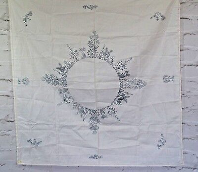 """Vintage Floral Tablecloth to Embroider 35"""" x 35"""" Needle craft stamped linens"""