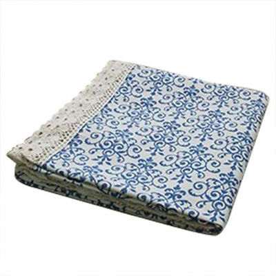 Retro Blue and White Table Cloth with Lace Cotton & Linen Print Chinese Sty J7I4