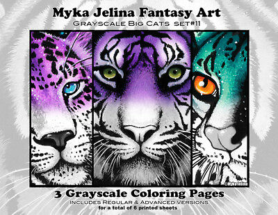 Myka Jelina Coloring Pages Big Cats Grayscale Set 11 Loose Leaf Pages Tiger Art