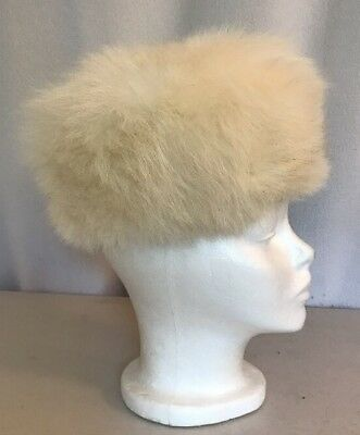 "Nice! 20"" XS extra small vintage white Fox fur hat winter pillbox style"