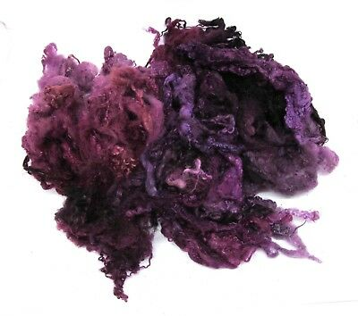 Shunklies Hand Dyed Bluefaced Leicester Fleece 50g in Blackcurrant Spin or Felt