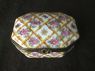 Limoges Hand Painted Bamboo Pink Floral Trinket Box