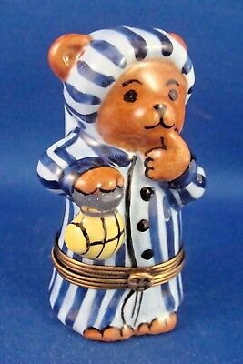 Sleepytime Bear with Nightshirt - Lantern - FRENCH LIMOGES box