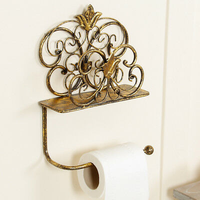 Antique Gold Vintage Ornate Style Bathroom Wall Mounted Toilet Roll Paper Holder