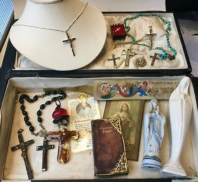 Vintage Jewellery Job Lot Silver Cross, Turquoise Rosary Beads, Ornaments