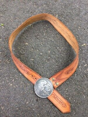 Vintage 1970s Leather Belt Indiana Metal Craft Buckle Native American Indian