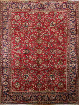 Enticing All Over Vintage Old Floral 10x13 Wool Tabriz Persian Oriental Area Rug