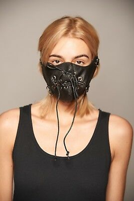Black Faux Leather Stitched Mouth Face Cover Rocker Steam Punk Hannibal Mask