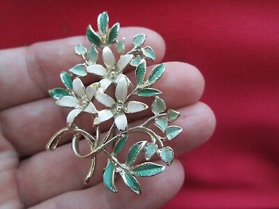 Vintage Signed Exquisite Jewellery White & 2 Tone Green Enamel Flower Brooch Pin