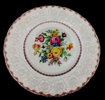 Sovereign Potters Canada 10 3/4\u201d DINNER PLATE NEEDLEPOINT FLORAL DESIGN & 6 DINNER Plates Sovereign Canada British Empire Made Viceroy 18K ...