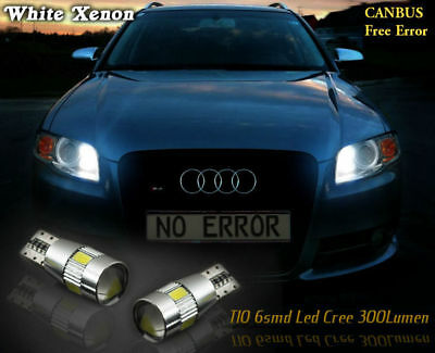 2x T10 LED Cree Bulbs 6000K Sidelights Parking White Free Error AUDI A3 A4 A6 A8