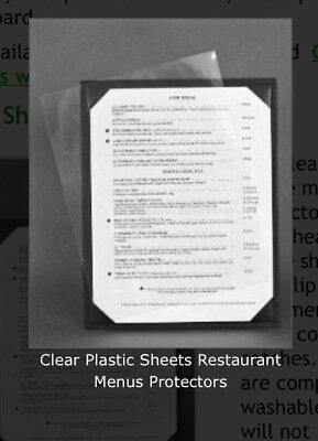 50 Pc Restaurant Menu Cover Clear Sheet Protectors Vinyl 8 1/2 x 14 Mat