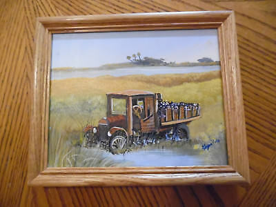 Small Framed Florida Landscape With Old Pickup Truck Signed By Donald Kapaldo