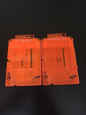 Lot Of 2 Nerf Dart Gun Ammo Magazine Clear Clips Holds 6 Darts Free Shipping