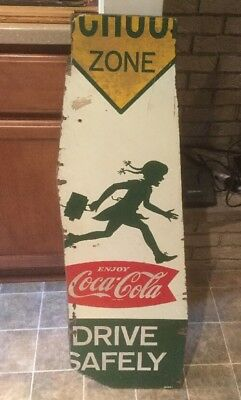 Coca Cola Double Sided Wood School Crossing Sign FISHTAIL GREAT GRAPHICS  *RARE*