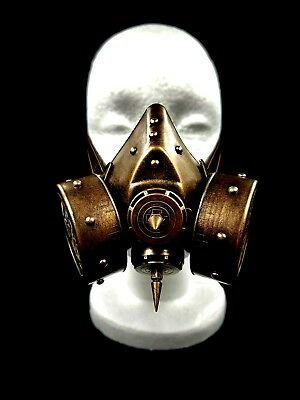 Gold Spike Steam Punk Gas Mask Goth Halloween Costume Respirator Prop Disguise