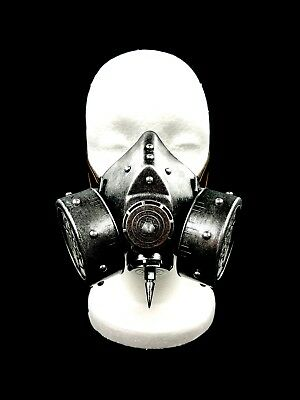 Silver Spike Steam Punk Gas Mask Goth Halloween Costume Respirator Prop Disguise