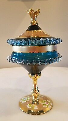 Vintage Bohemian Moser Covered Candy Dish, Blue, Hand-painted Enamel
