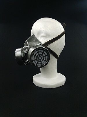 Silver Spiked Steam Punk Gas Mask Goth Halloween Costume Respirator Prop Cosplay