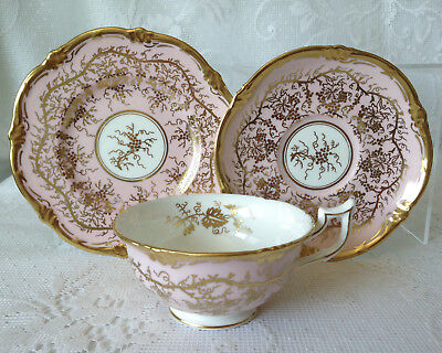 Coalport King's Plate pink & gold cup, saucer & plate trio