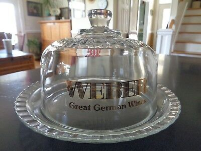 Vtg Weber Advertising ~ Great German Wine ~ Glass Cheese Dome ~ Arcoroc ~ France