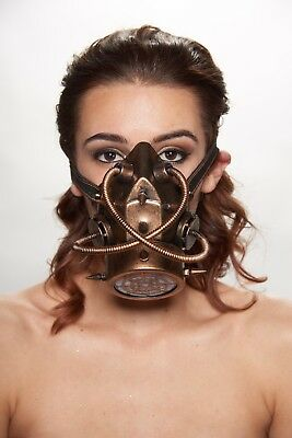 Gold Goth Steam Punk Respirator Gas Mask Prop Mad Max Terminator Style Cosplay