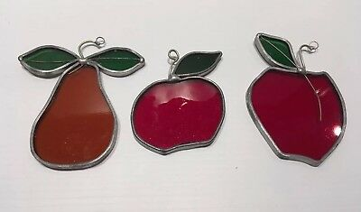 Vintage Tiffany Stained Glass Collectors Society Sun catchers-Pear, Apple, Plum