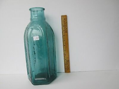 Antique Rich Teal Blue Green Cathedral Pickle Bottle