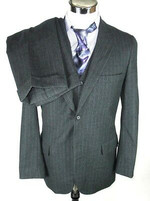 "Brooks Brothers 346 Gray Striped 3 Button 3 Piece Wool Suit Mens 40"" L Waist 35"""