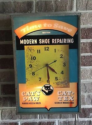HTF Vintage Cats Paw Cat-Tex Heels Soles Shoes / Lighted Advertising Clock /