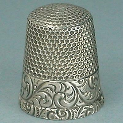 Antique Sterling Silver Scroll Band Thimble by Waite, Thresher Co. * Circa 1900