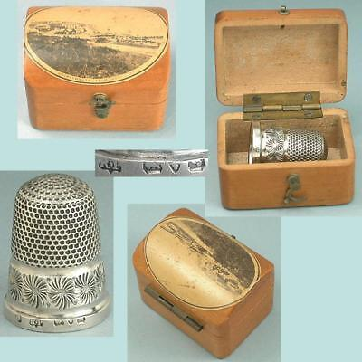 Antique Mauchline Ware Thimble Case & Sterling Silver Thimble * 1909 Hallmarks