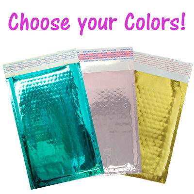 "4x8"" Teal, Gold, Rose Gold, Metallic Bubble Mailers, Padded Shipping Envelopes"