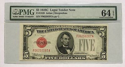 1928C $5 Legal Tender, Us Note, Pmg Choice Uncirculated 64 Epq Banknote Fa Block