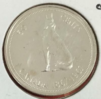 1967 Prooflike Canada SILVER 50 Cents Wolf Centennial! Old Canadian COin!