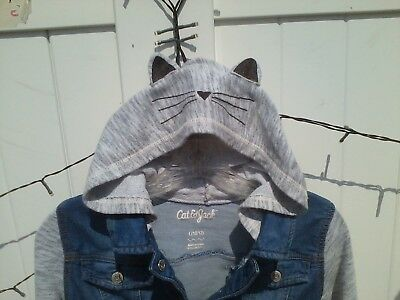 """Girl's Denim Jacket with Kitty Hood, by """"Cat and Jack"""" Size L(10/12)"""