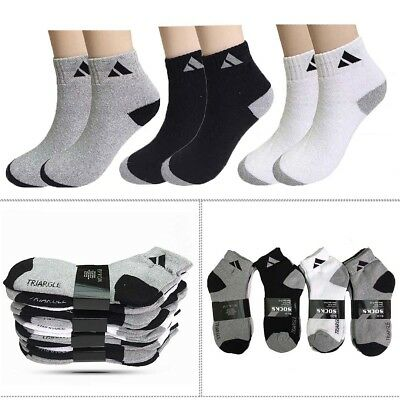 Gray 3-12 Pairs Mens Ankle Quarter Crew Sports Socks Cotton Low Cut Size 9-13