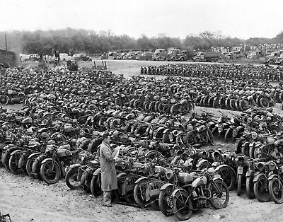 WW2 Army Surplus Sale Military Indian Harley Davidson British Motorcycles Photo