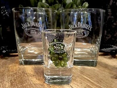 Vintage JACK DANIEL'S OLD NO. 7 Satin Logo Square Base Rocks Glasses (2) + Shot!