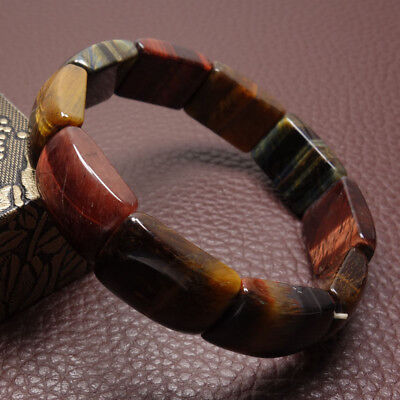 "7.5"" Chinese 100% Natural Red Brown Tigers Eye Jade Gems Bracelet Bangle 50555"