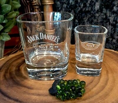 Jack Daniel's OLD NO. 7 Wings Logo Square Signed Base Rocks Glass + Shot! NEW!