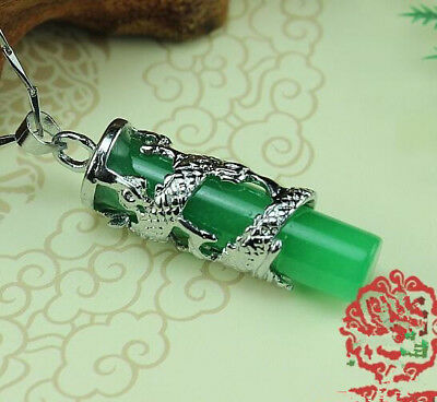 100% Natural Green Jade Dragon statue Lucky Amulet Pendant Chinese jade carving