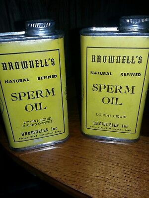 TWO! BROWNELL'S  NATURAL REFINED SPERM OIL 1/2 PINT PRE BAN Tins