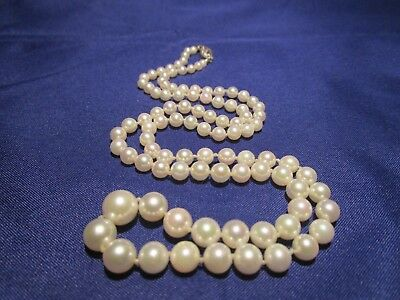 AMAZING VTG 14k Gold GENUINE AAA QUALITY Cultured Graduated White Pearl Necklace