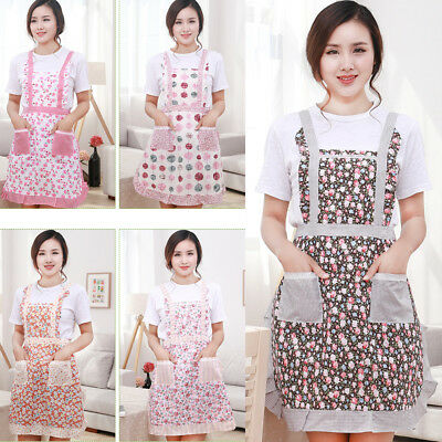 Women Cute BowKnot Dot Kitchen Restaurant Bib Cooking Aprons With Pocket