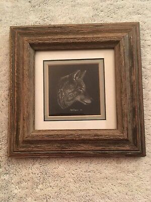 Coyote – Ray Barone - Framed Scratchboard Drawing– 1987 Signed Original Art
